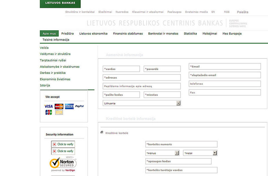 Suklastota Lietuvos banko svetainė