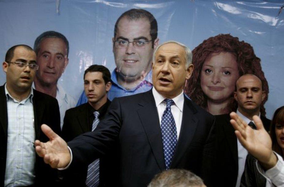"""B.Netanyahu, dešiniųjų partijos """"Likud"""" lyderis"""