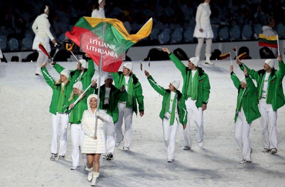 Lietuvos delegacija Vankuverio žiemos olimpinių žaidynių atidarymo ceremonijoje