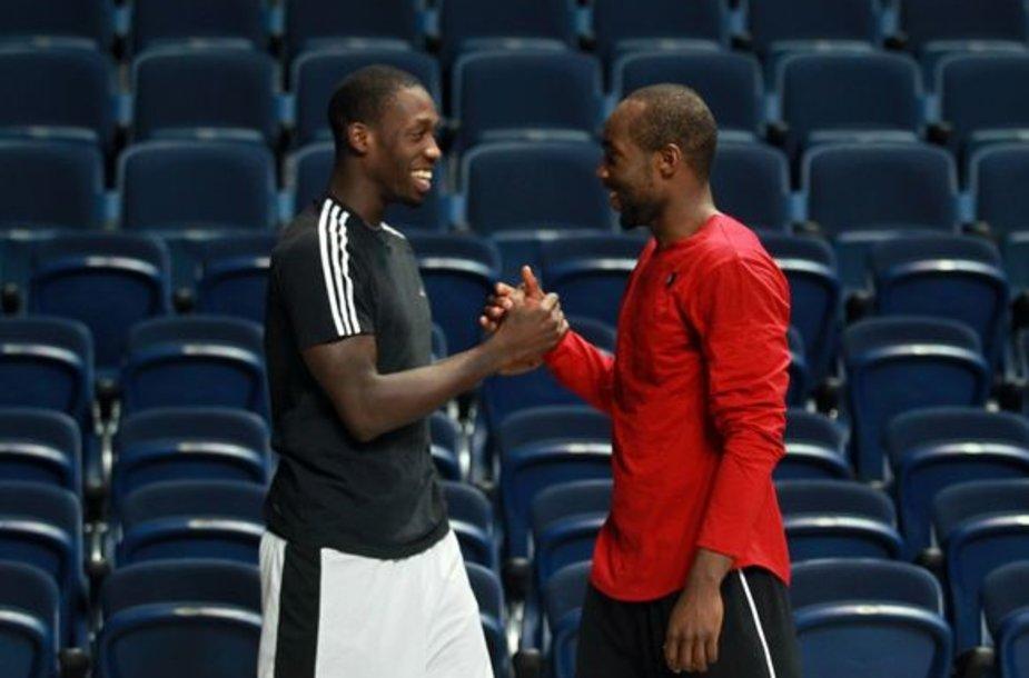 Patrickas Beverley (kairėje) ir Tyrese Rice'as