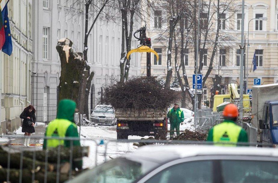 Remontuojama Šventaragio gatvė