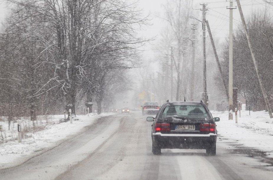 Antradienio rytą Vilniuje sninga