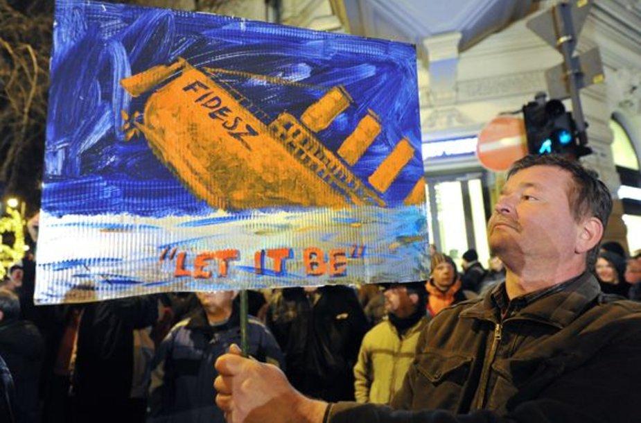 Protestai Vengrijoje