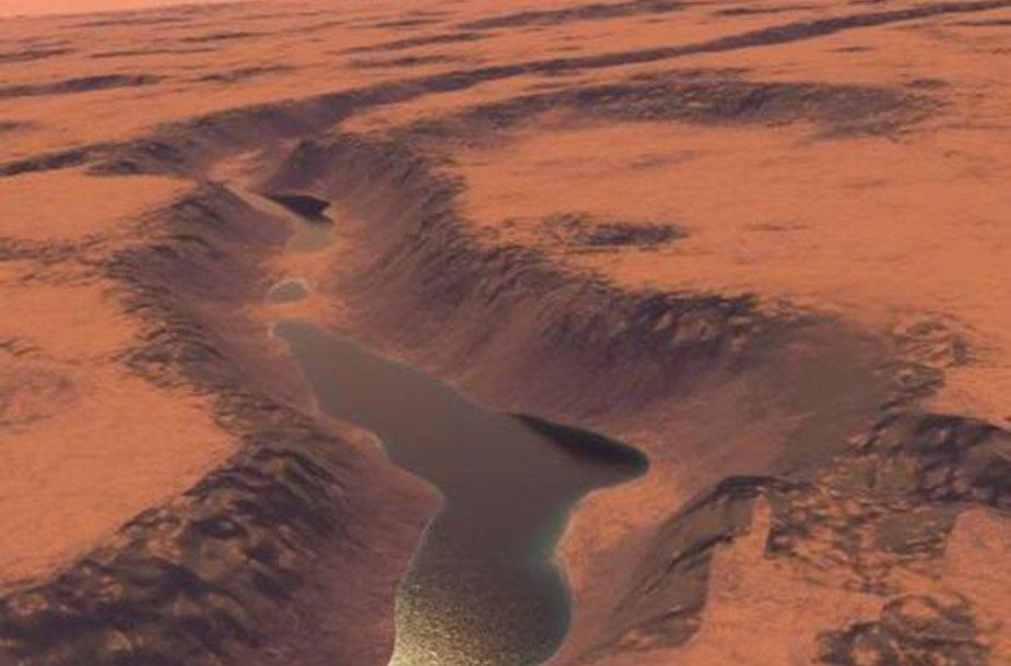 Šipoje nuotraukoje matyti mokslininkų atlikta rekonstrukcija, kaip galėjo atrodyti ežeras Marse.