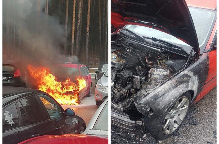 Saulėtekyje sudegęs BMW