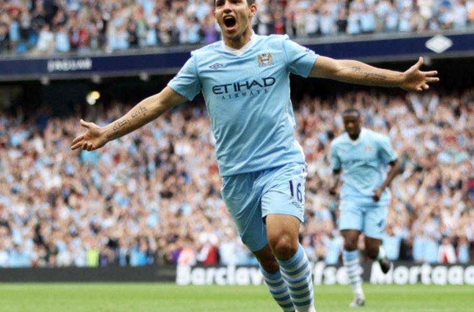 Sergio Aguero Anglijos futbolo čempionate per 4 mačus įmušė jau 6 įvarčius.
