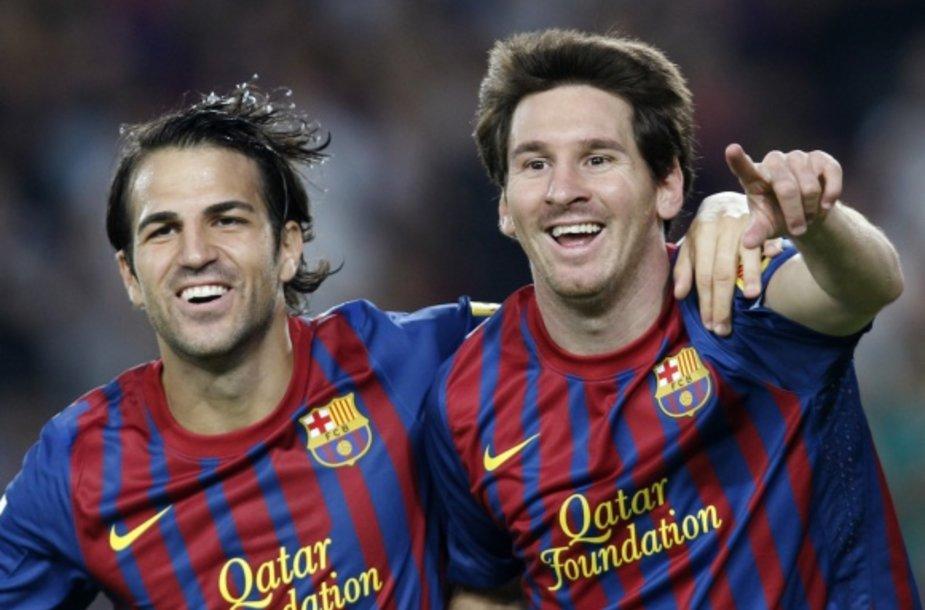 Lionelis Messi (dešinėje) ir Cescas Fabregasas (kairėje)