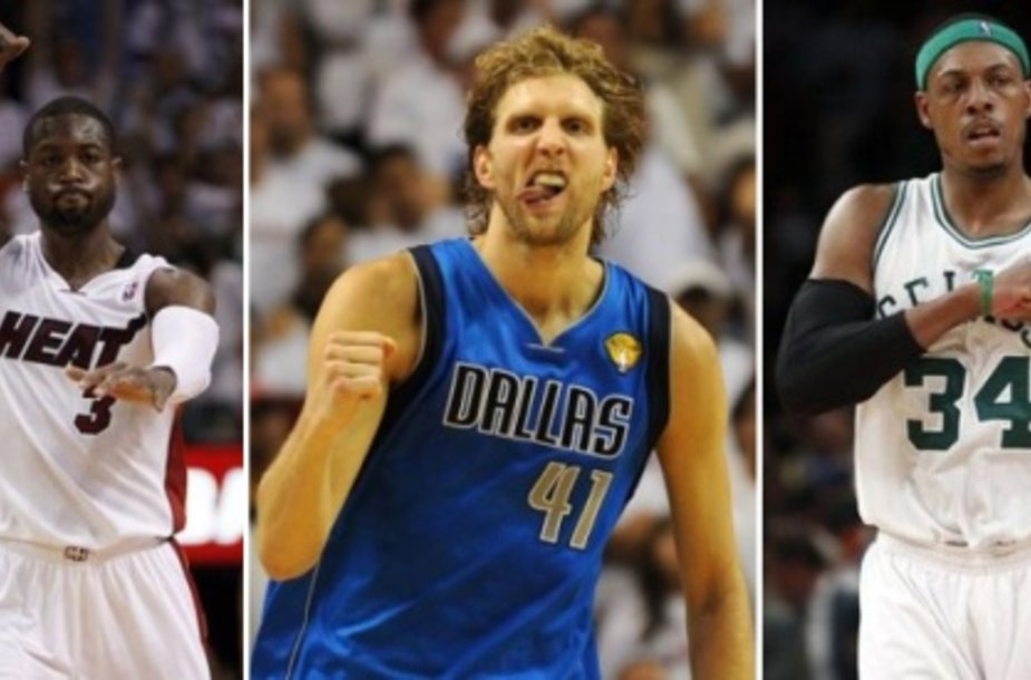 Dwyane'as Wade'as, Dirkas Nowitzkis ir Paulas Piece'as.