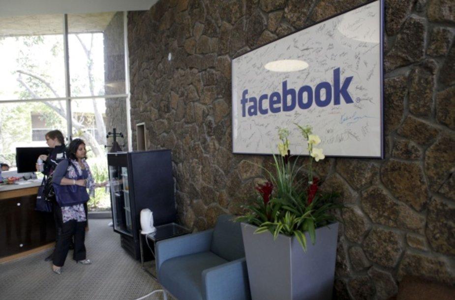 """""""Facebook"""" centrinės būstinės Palo Alte priimamasis"""