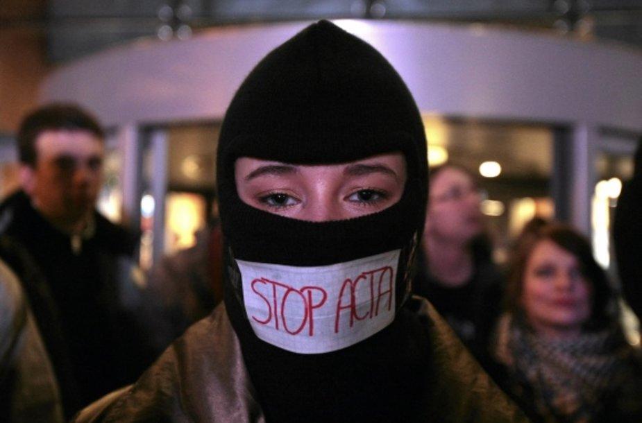 Protesto akcija prieš ACTA susitarimą Lenkijoje