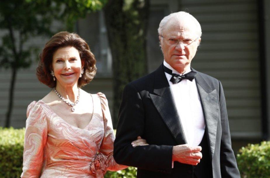 Švedijos karalius Carlas XVI Gustafas su karaliene Silvia