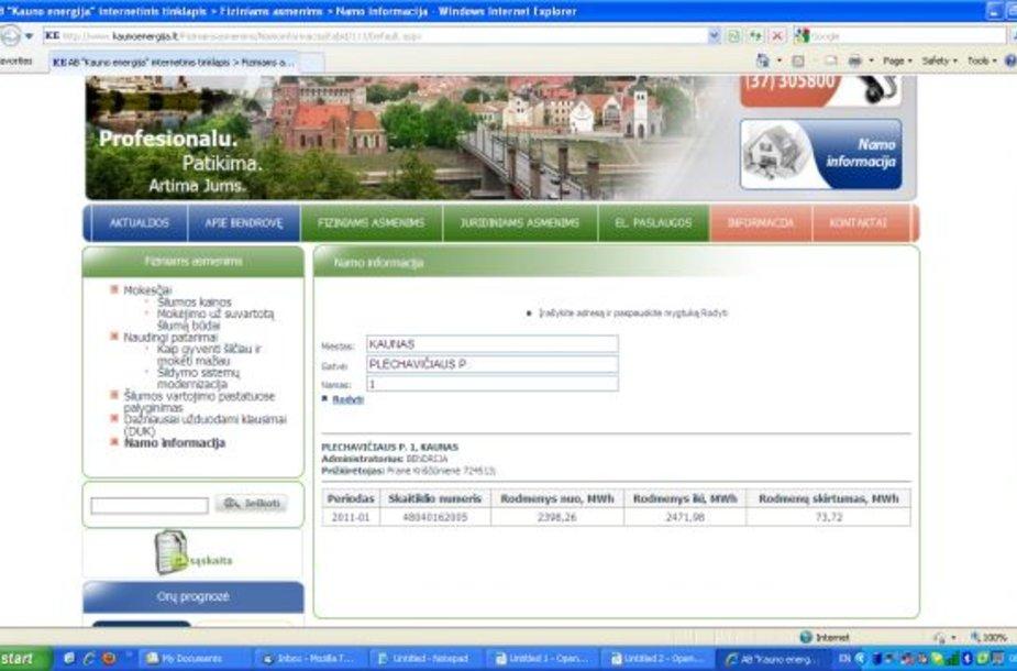 """""""Kauno energija"""" interneto svetainėje pradėjo veikti įvadinių šilumos apskaitos prietaisų (skaitiklių) rodmenų pasitikrinimo sistema, rodanti skaitiklių rodmenis """"nuo ... iki""""."""
