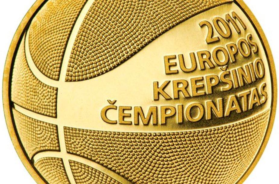 Kolekcinėse monetose įamžintas šį rudenį Lietuvoje vyksiantis Europos vyrų krepšinio čempionatas.
