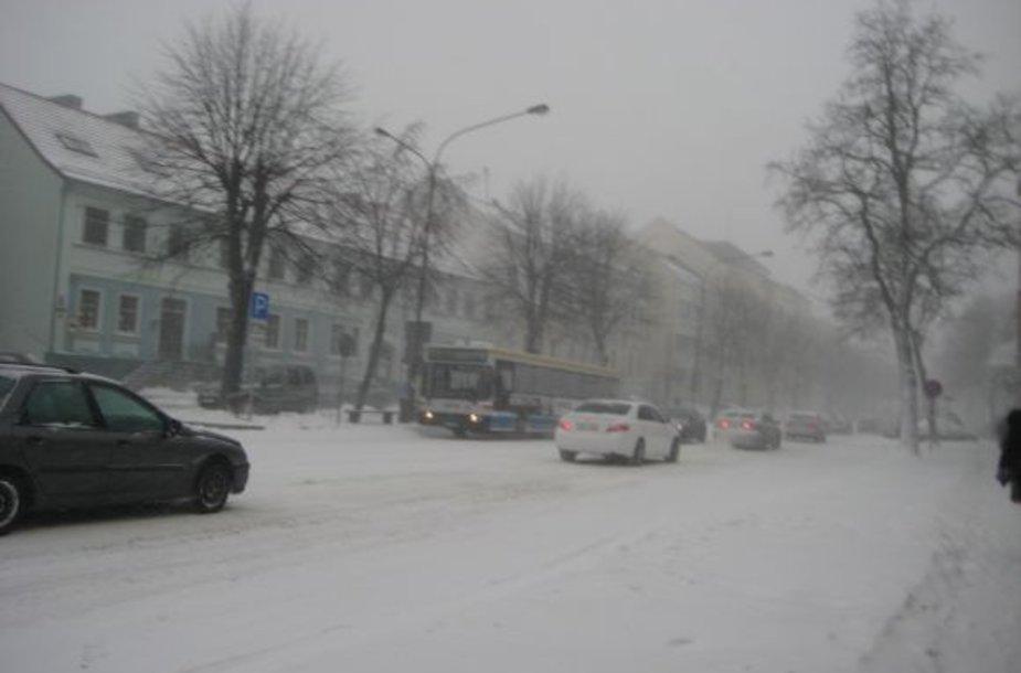 Pustomas sniegas trikdė matomumą.