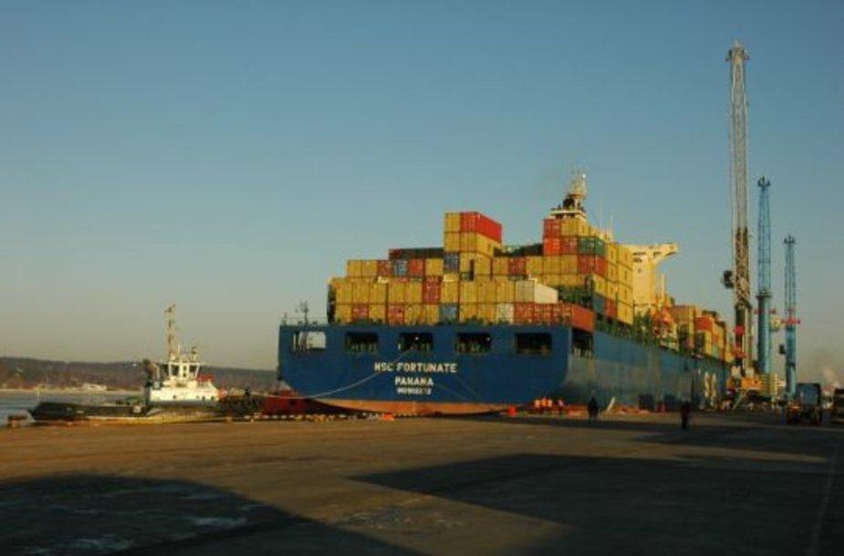 Laivas- milžinas tapęs Klaipėdos valstybinio jūrų uosto rekordininku.