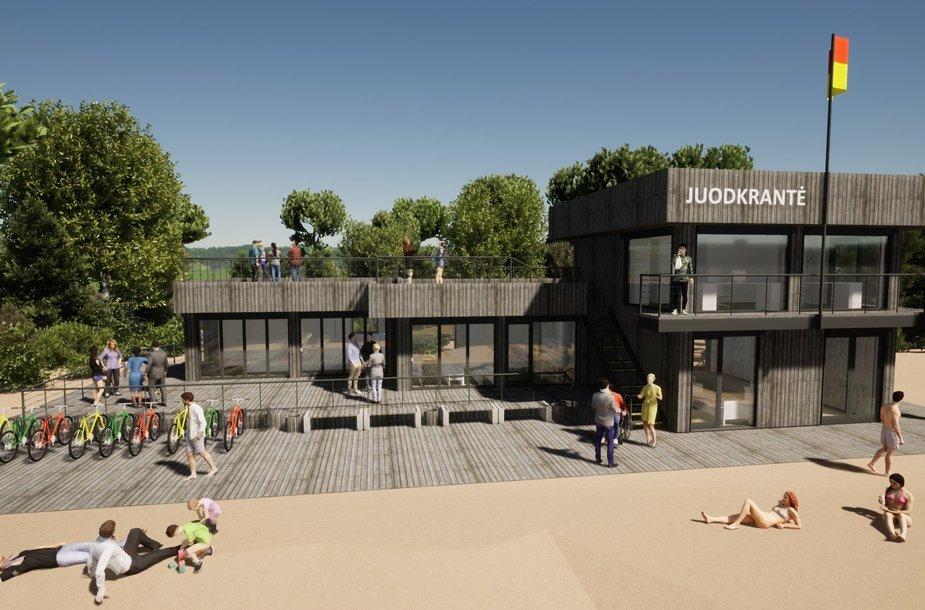Rekonstruojamas Juodkrantės gelbėjimo stoties pastatas.