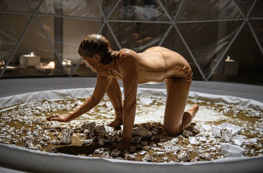 Danijos menininkės Tinos Tarpgaard performansas nustebins ne vieną. Ji pasirodys tarp tūkstančių lervų.