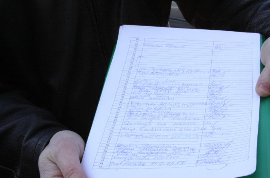 Gyventojų parašai.