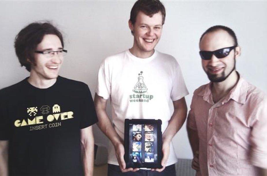 """Pasak J.Katkaus (viduryje), kauniečių kompanija neketina sustoti ir artimiausioje ateityje žada pradėti ir """"Android"""" sistemos programų kūrimą."""
