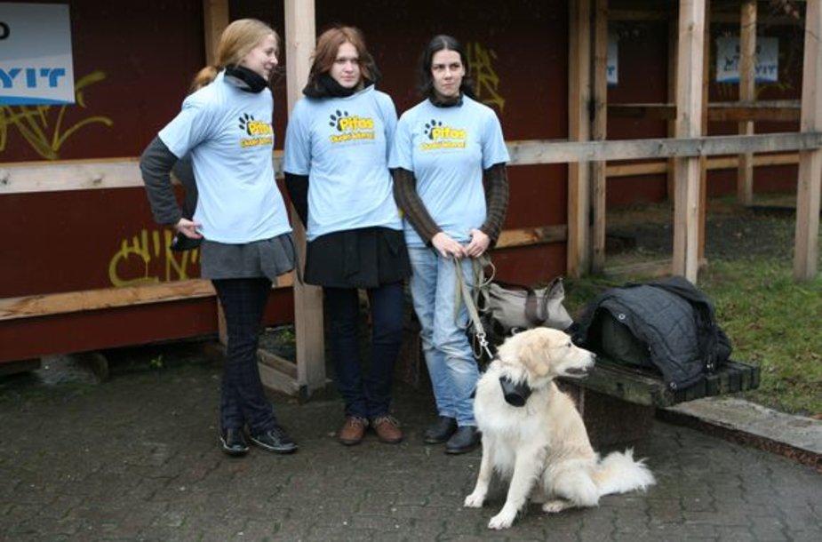 """Gyvūnų globos draugijos """"Pifas"""" savanorės Aušra, Milda ir Laima."""