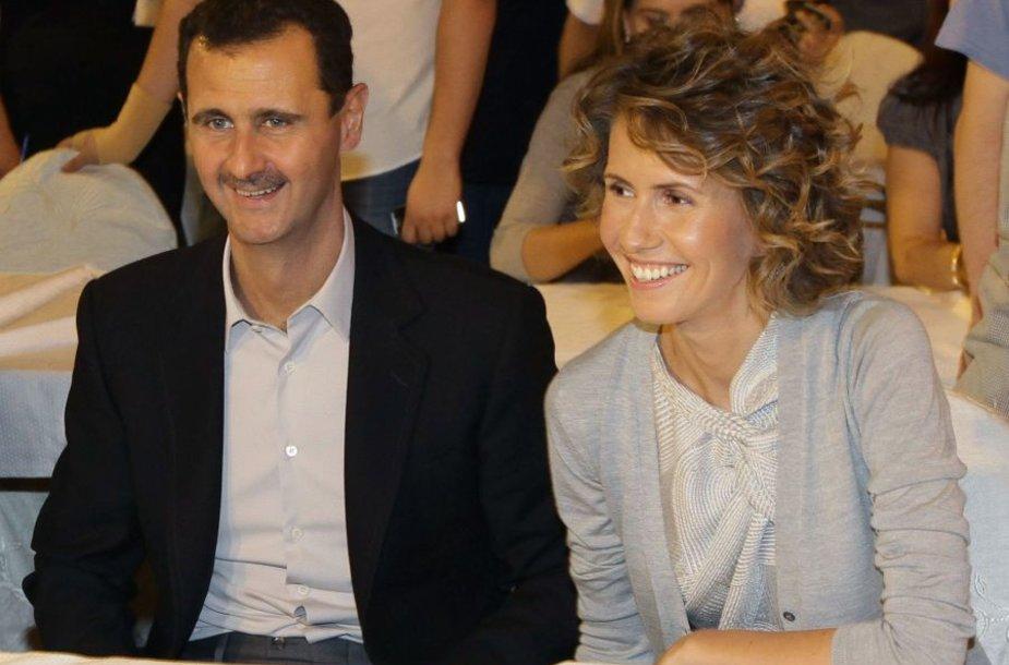 Basharas al Assadas ir jo žmona Asma
