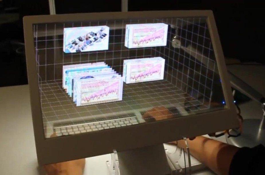 """Pristatytas permatomas, judesiais valdomas kompiuteris """"SpaceTop 3D"""""""