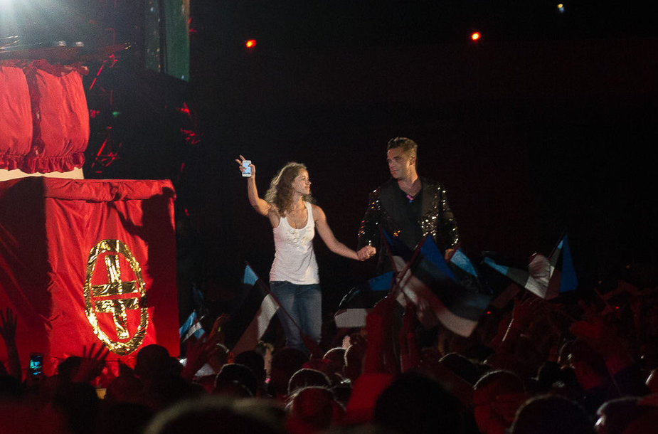 Robbie Williamsas koncerte Taline su gerbėja Jurgita iš Lietuvos