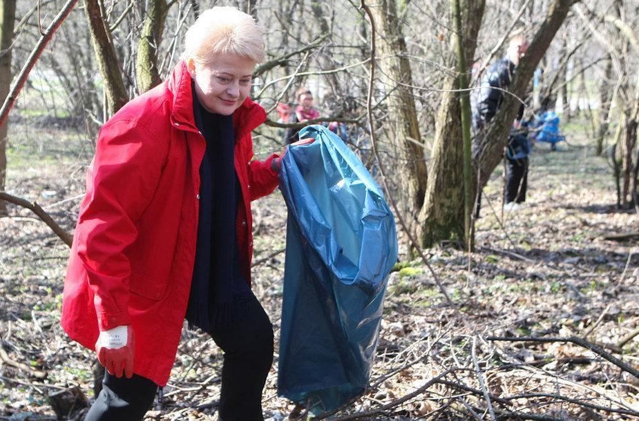 Prezidentė Dalia Grybauskaitė tvarkė miškelį-parką Filaretų gatvėje.