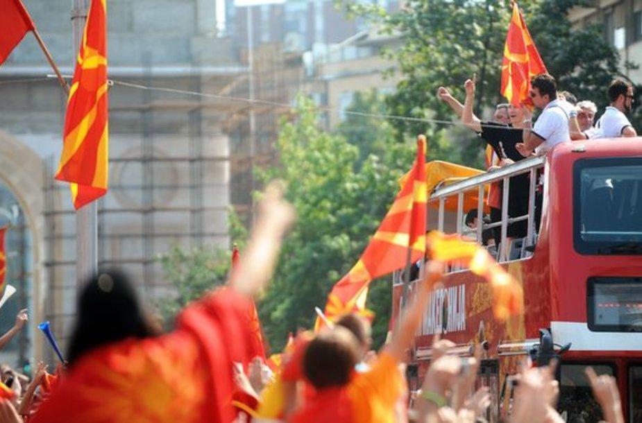 Krepšininkų sutiktuvės Makedonijoje