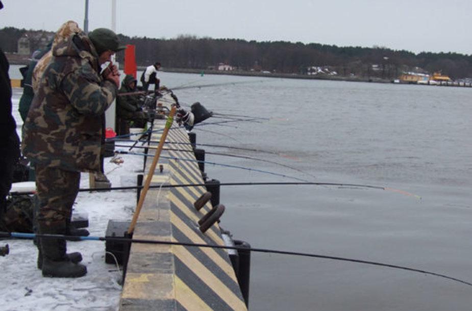 Kuršmarėse susilpnėjus ledo šarvui, Danės žiotys vėl sutraukia dešimtis stintų meškeriotojų