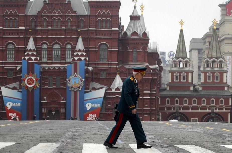 Antrojo pasaulinio karo veteranas Maskvos Raudonojoje aikštėje