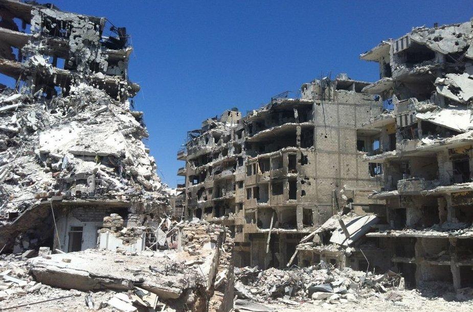 Homso mieste sugriauti pastatai
