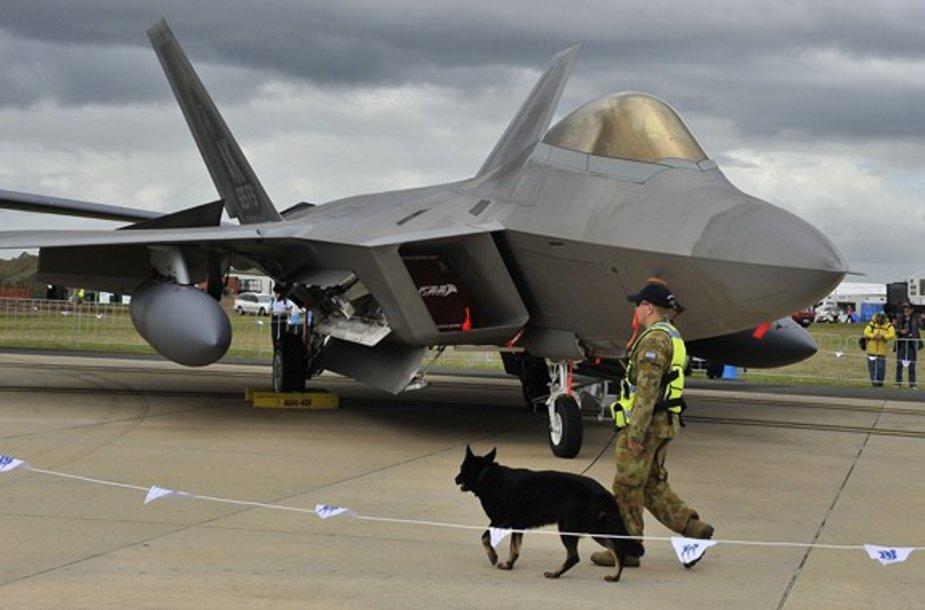 """JAV oro pajėgų """"F-22"""" naikintuvas"""