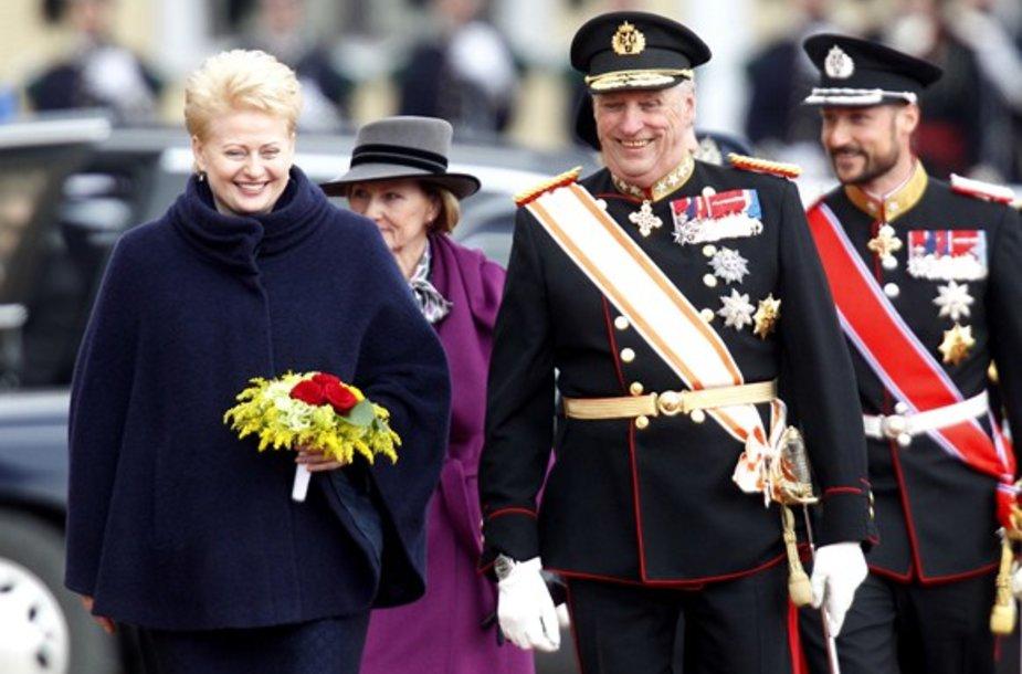 Lietuvos prezidentė Dalia Grybauskaitė ir Norvegijos karalius Haraldas V