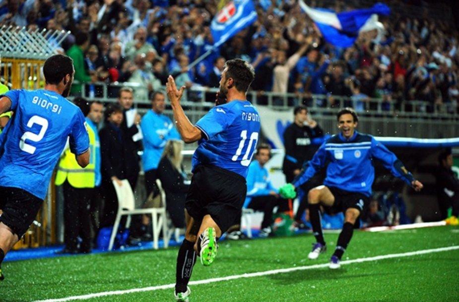 Marco Rigoni džiaugiasi įvarčiu