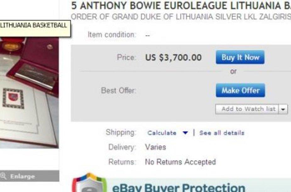 Interneto aukcione – buvusio žalgiriečio Bowie valstybiniai apdovanojimai