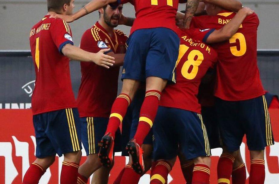 Ispanijos rinktinė džiaugiasi pergale