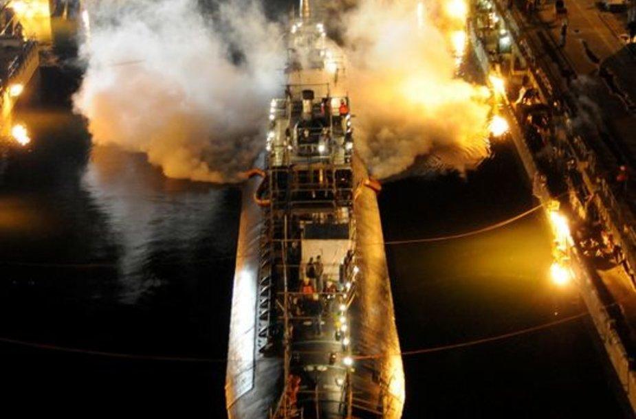 JAV atominiame povandeniniame laive kilo gaisras.
