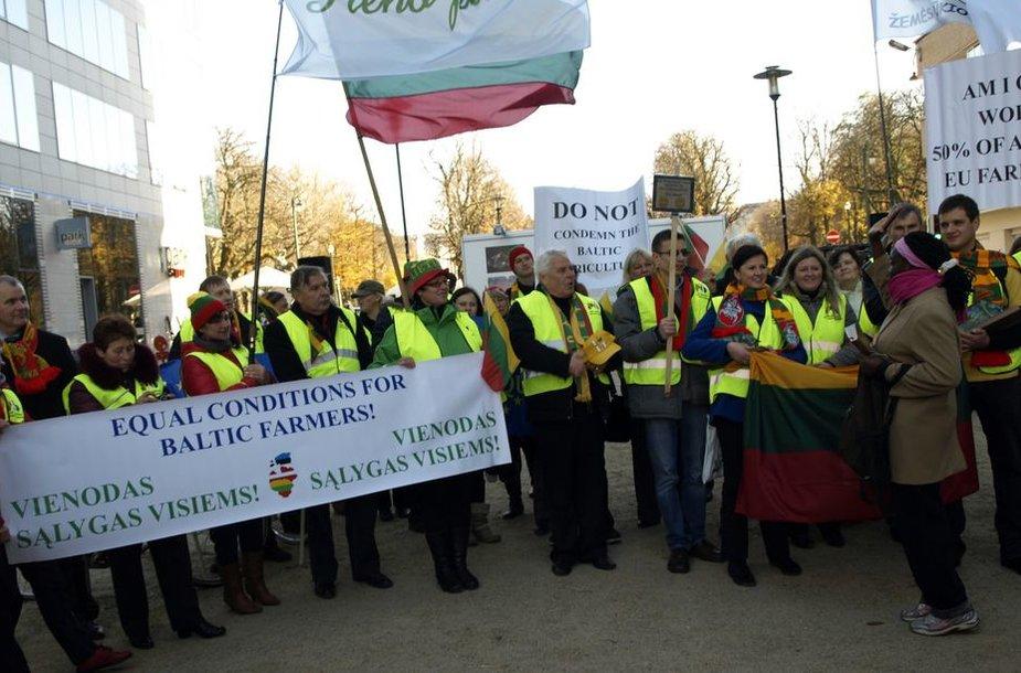 Baltijos šalių ūkininkų protestas Briuselyje