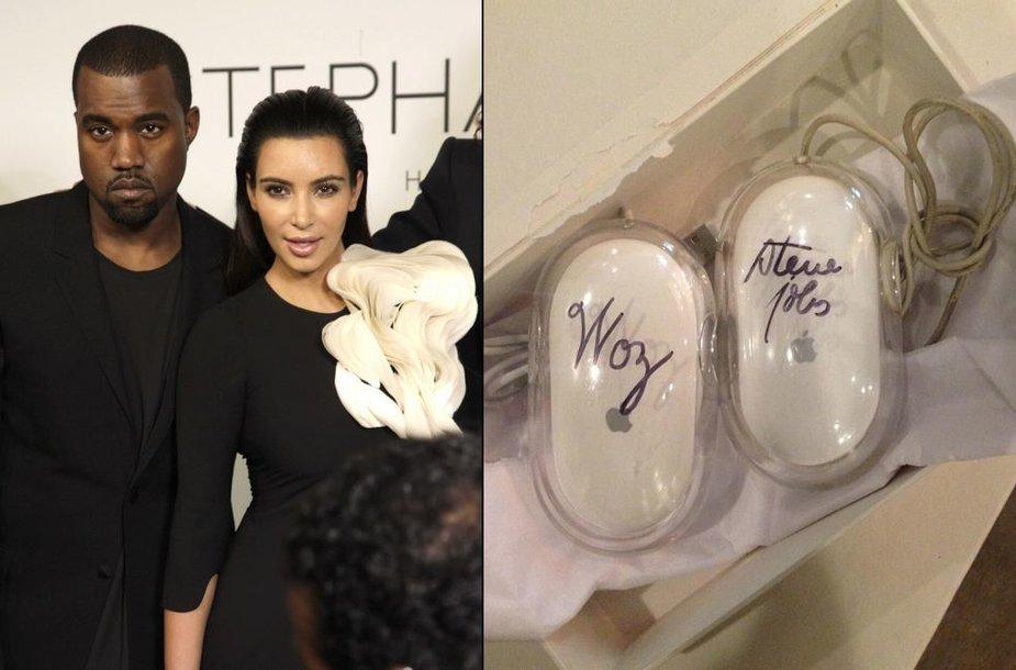 """Kanye Westas ir Kim Kardashian bei """"Apple"""" kompiuterio pelės su įkūrėjų Steve'o Jobso ir Steve'o Wozniako parašais"""