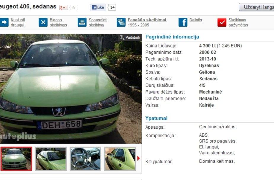 """""""Peugeot 406"""" skelbimas"""