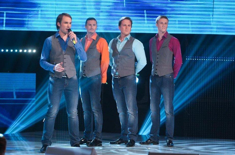 """Nacionalinės """"Eurovizijos"""" atrankos pristatomojo koncerto akimirka"""