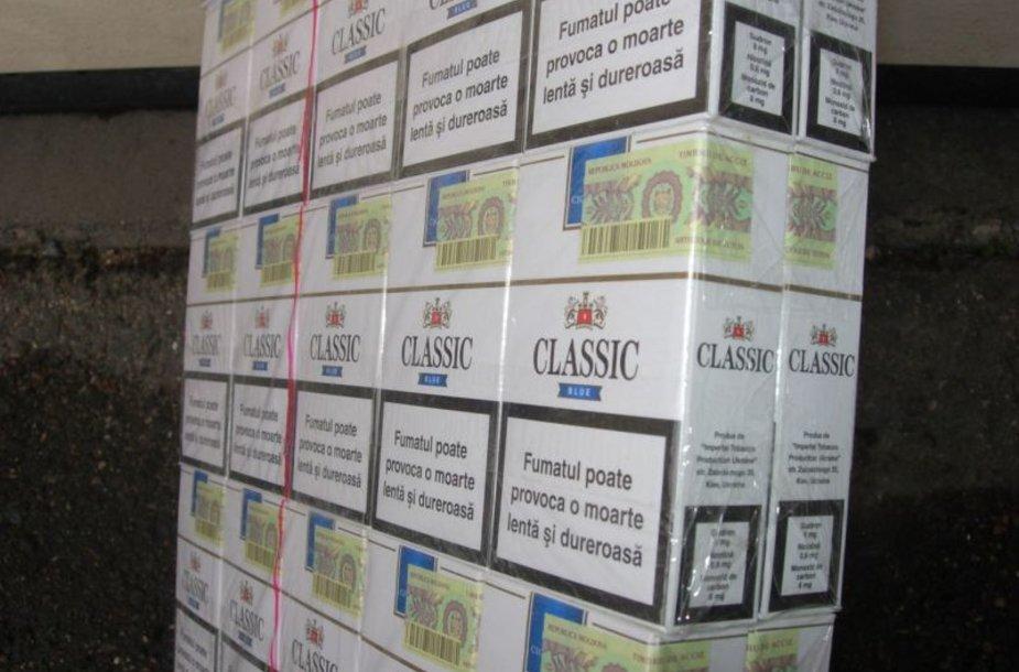 Sulaikyta moldaviškų kontrabandinių cigarečių kontrabanda