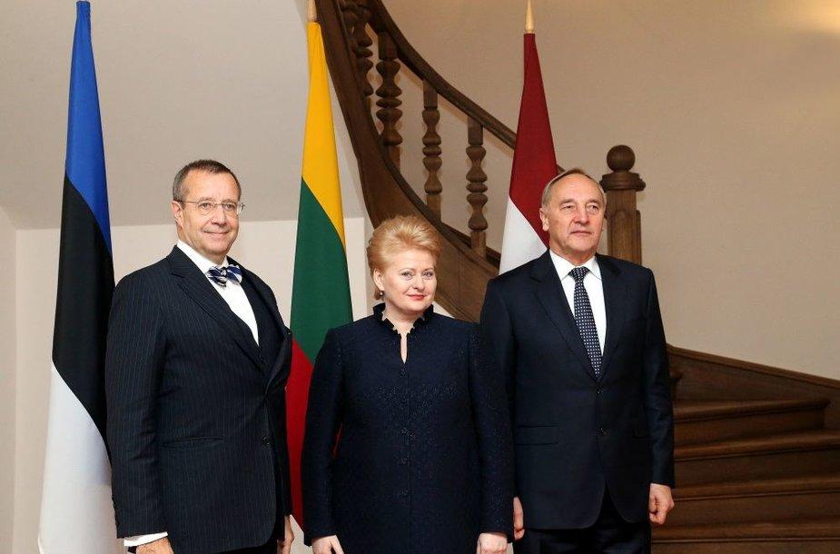 Lietuvos Respublikos prezidentė Dalia Grybauskaitė su Latvijos prezidentu Andriu Bėrziniu ir Estijos prezidentu Toomu Hendriku Ilvesu