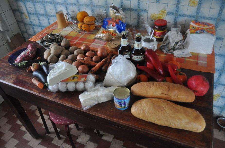 Šitiek maisto produktų nusipirkome už 60 litų Zugdidžio turguje