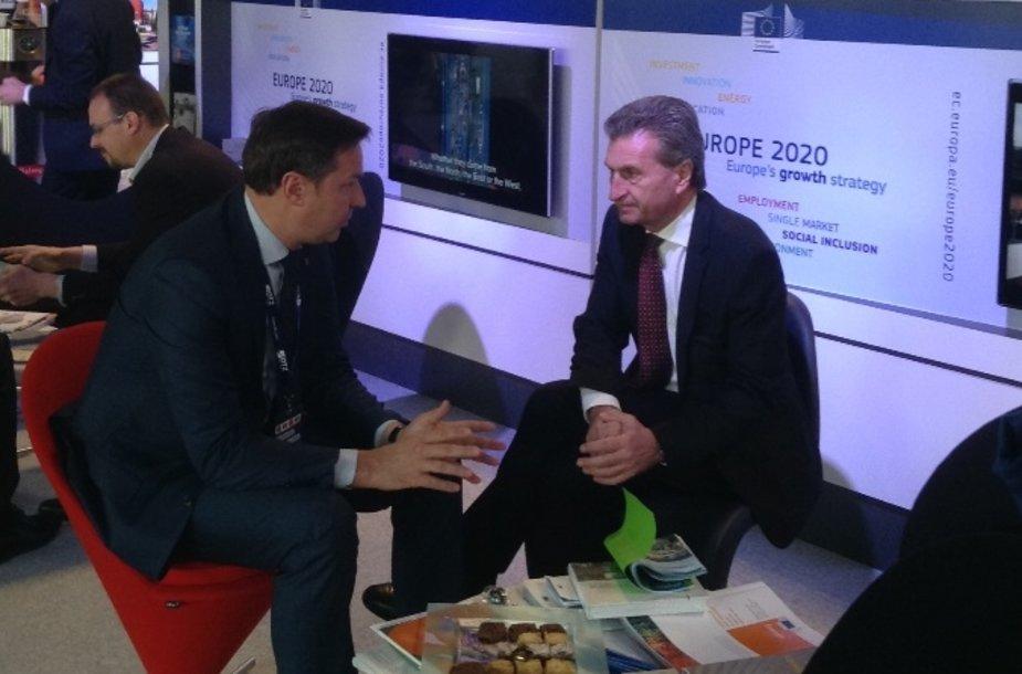 Vilniaus meras Artūras Zuokas ir ES energetikos komisaras Guntheris Oettingeris