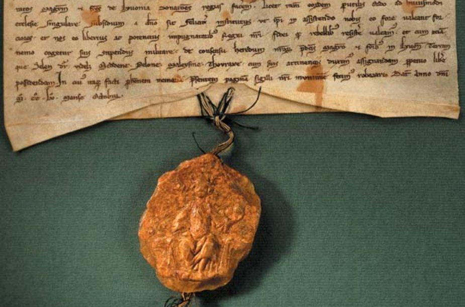 1255 m. karaliaus Mindaugo dovanojimo raštas, patvirtintas valdovo antspaudu