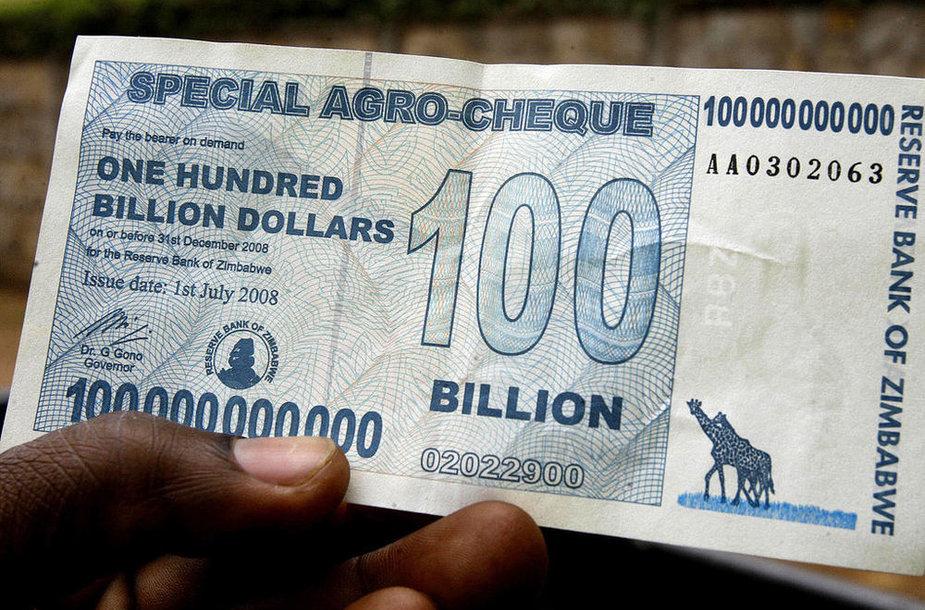 Банкнота с 100 млрд зимбабских долларов