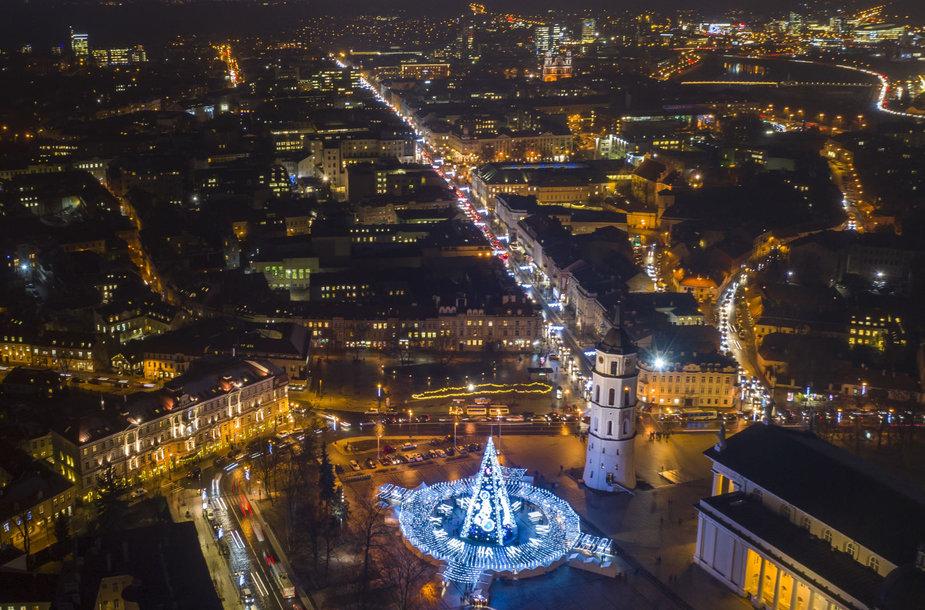 Kalėdų eglė Vilniuje iš paukščio skrydžio