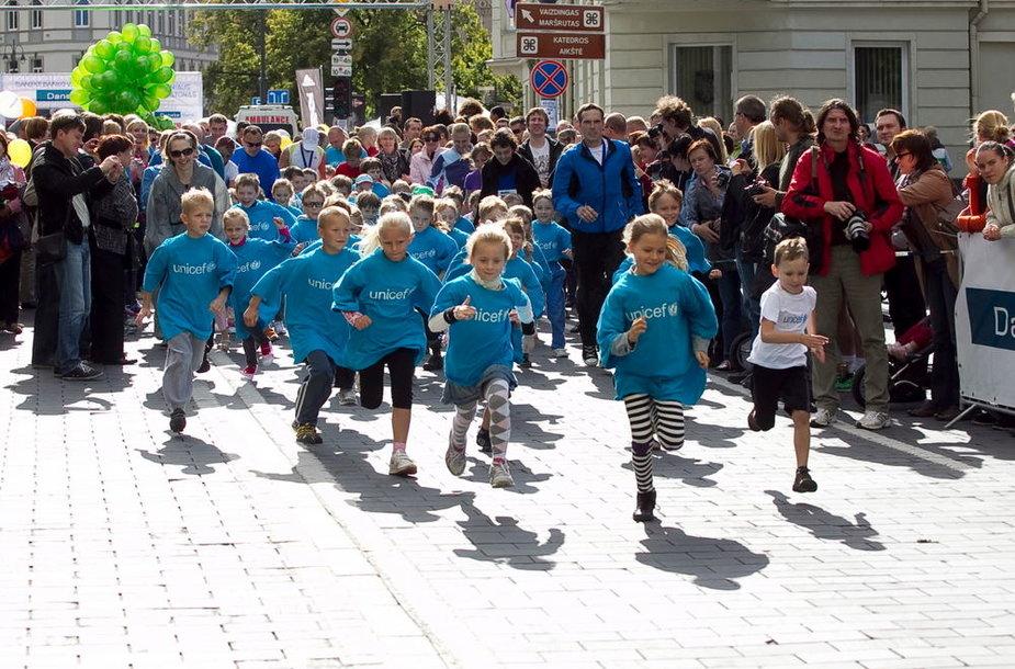 Vaikų maratono akimirka